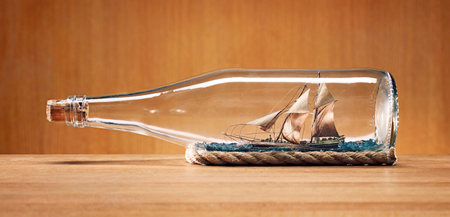 Ship in a bottle.