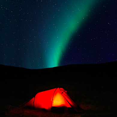 Tent and northern lights.