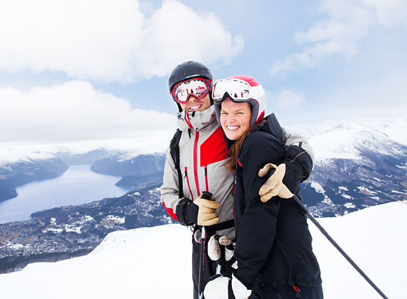 Couple skiing.