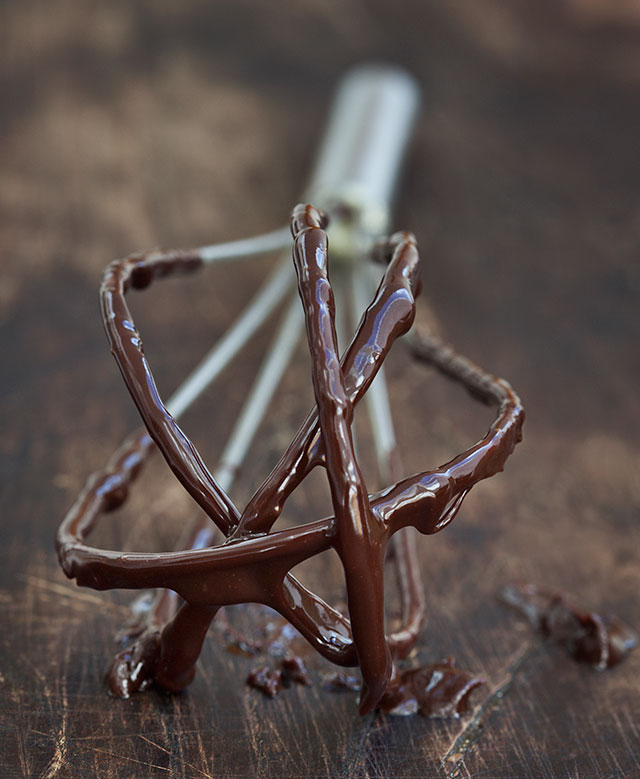 Sticky chocolate on whisk.