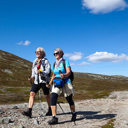 Two women trekking.