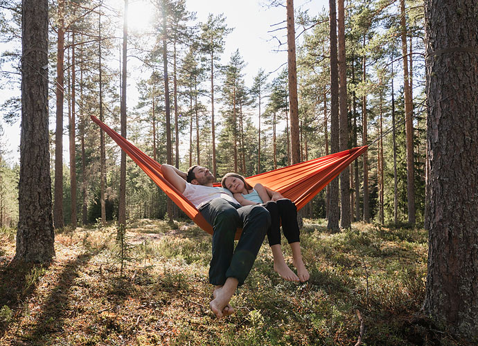 ima182745, Father and daughter lying in hammock in forest